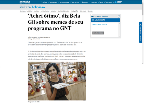 'Achei ótimo' diz Bela Gil sobre memes de seu programa no GNT